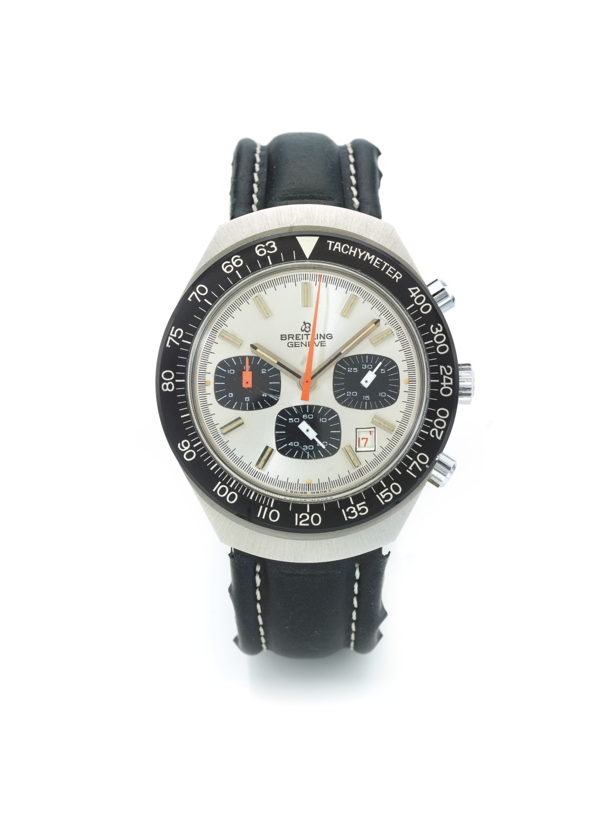 View 1 of Lot 70. BREITLING | REF 7104 LONG PLAYING, A STAINLESS STEEL CHRONOGRAPH WRISTWATCH WITH DATE CIRCA 1970.