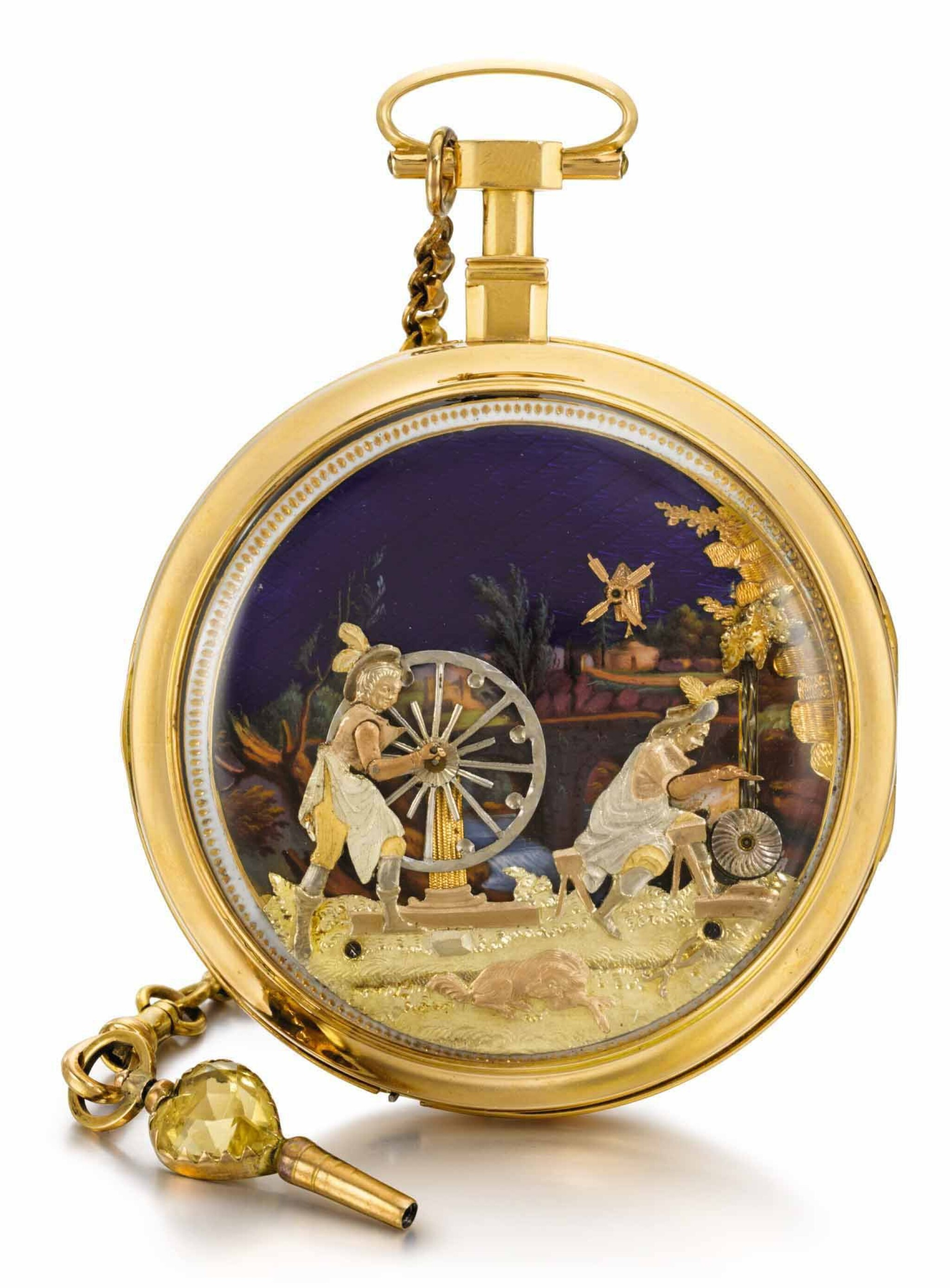 View full screen - View 1 of Lot 22. 'THE KNIFE GRINDERS'  CHEVALIER ET COCHET | A GOLD AND ENAMEL AUTOMATON WATCH FOR THE CHINESE MARKET  CIRCA 1800.