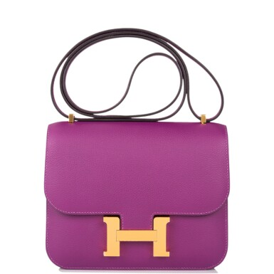 View 1. Thumbnail of Lot 21. Hermès Anemone Constance 18cm of Evercolor Leather with Gold Hardware.