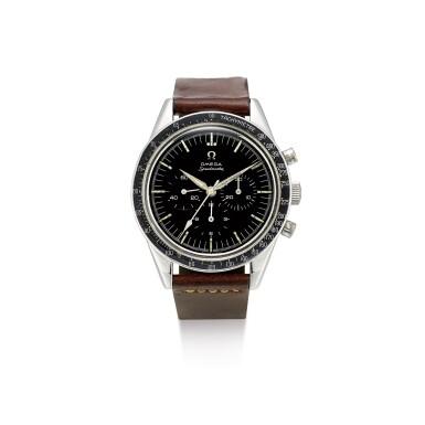 "View 1. Thumbnail of Lot 2124. OMEGA | SPEEDMASTER, REFERENCE 2998-61, A STAINLESS STEEL CHRONOGRAPH WRISTWATCH, CIRCA 1962 | 奧米茄 | ""Speedmaster 型號2998-61 精鋼計時腕錶,機芯編號18494116,約1962年製""."
