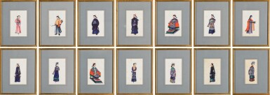 View 1. Thumbnail of Lot 163. A set of fourteen Chinese paintings on silk, Canton, 19th century.