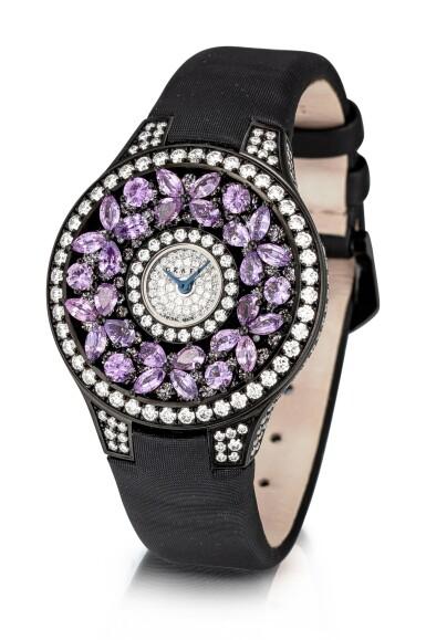 View 2. Thumbnail of Lot 1045. 'Butterfly' Reference BF32BGVSD, 5 Limited Edition Blackened Gold, Purple Sapphire and Diamond-Set Wristwatch | 格拉夫| Butterfly編號BF32BGVSD 5,限量版鍍黑金,紫色剛玉及鑽石腕表,約2010年製.