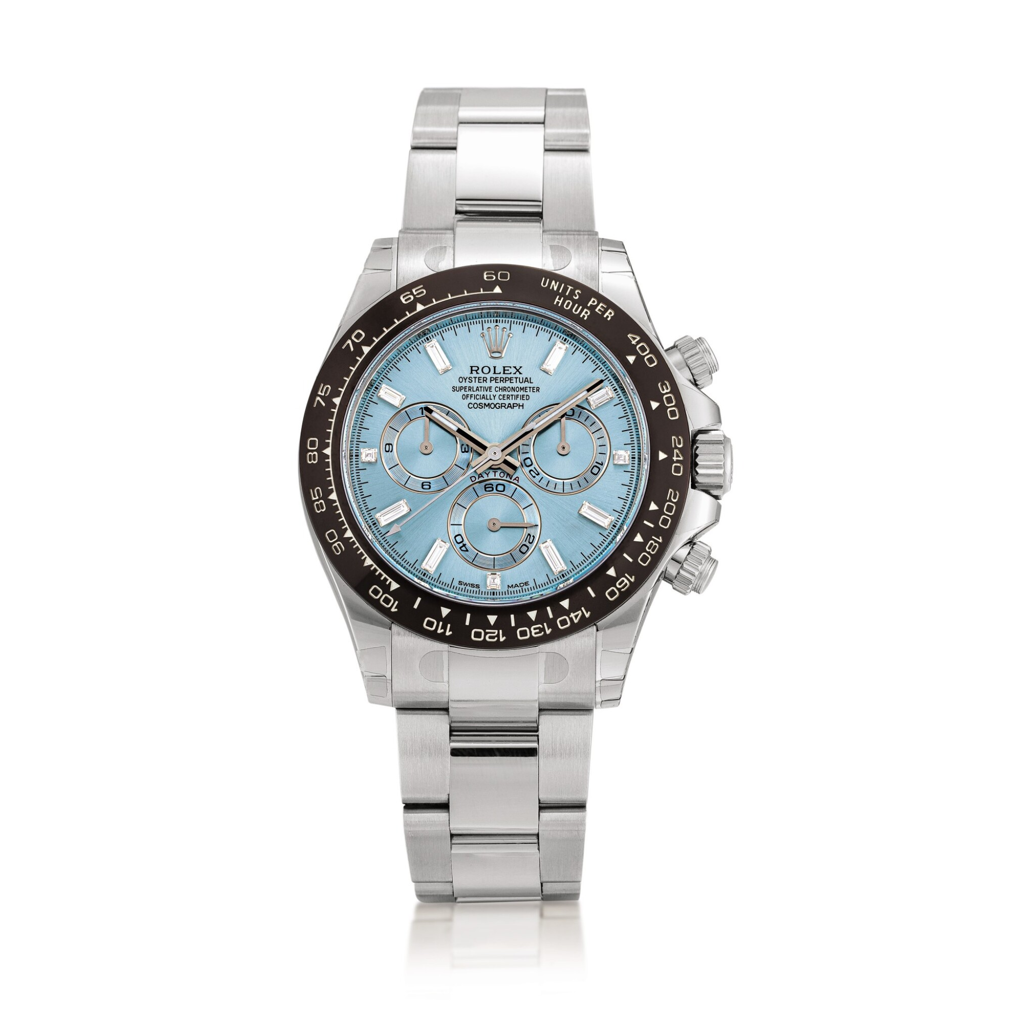 View full screen - View 1 of Lot 2015. Rolex   Cosmograph Daytona, Reference 116506, A brand new platinum and diamond-set chronograph wristwatch with bracelet, Circa 2020   勞力士   Cosmograph Daytona 型號116506 全新鉑金鑲鑽石計時鏈帶腕錶,約2020年製.