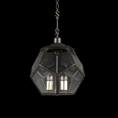 View 3. Thumbnail of Lot 116. A LARGE PATINATED BRASS LANTERN, EARLY 20TH CENTURY, IN THE MANNER OF ADOLF LOOS.