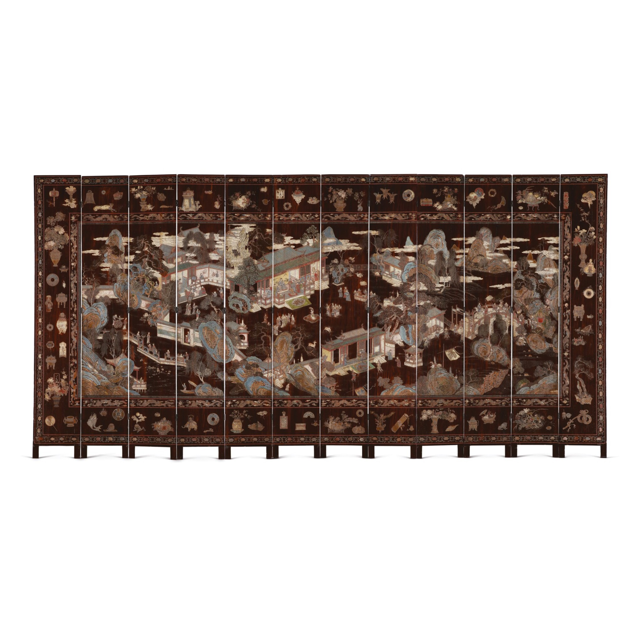 View full screen - View 1 of Lot 730. AN INSCRIBED TWELVE-PANEL COROMANDEL LACQUERED SCREEN, QING DYNASTY, KANGXI PERIOD.