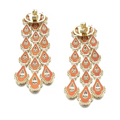 View 3. Thumbnail of Lot 1067. Pair of enamel and diamond earrings.