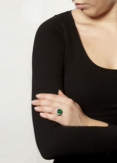 View 4. Thumbnail of Lot 20. EMERALD AND DIAMOND RING.