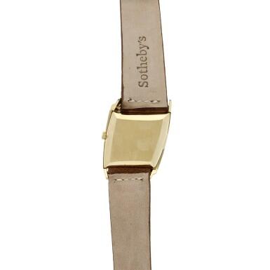 View 5. Thumbnail of Lot 1. Reference 3424   A yellow gold asymmetrical wristwatch, designed by Gilbert Albert, Circa 1962 .