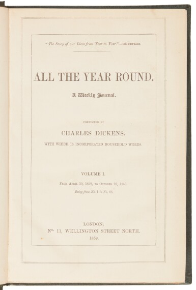 View 4. Thumbnail of Lot 177. Dickens, All the Year Round, 1859-68, 19 volume set .