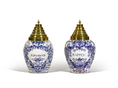 A set of five Delft blue and white tobacco jars with brass covers, circa 1760, De Vergulde Blompot Factory