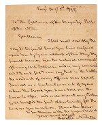 NELSON   Autograph letter signed, to Captains of Egyptian Club, 1798