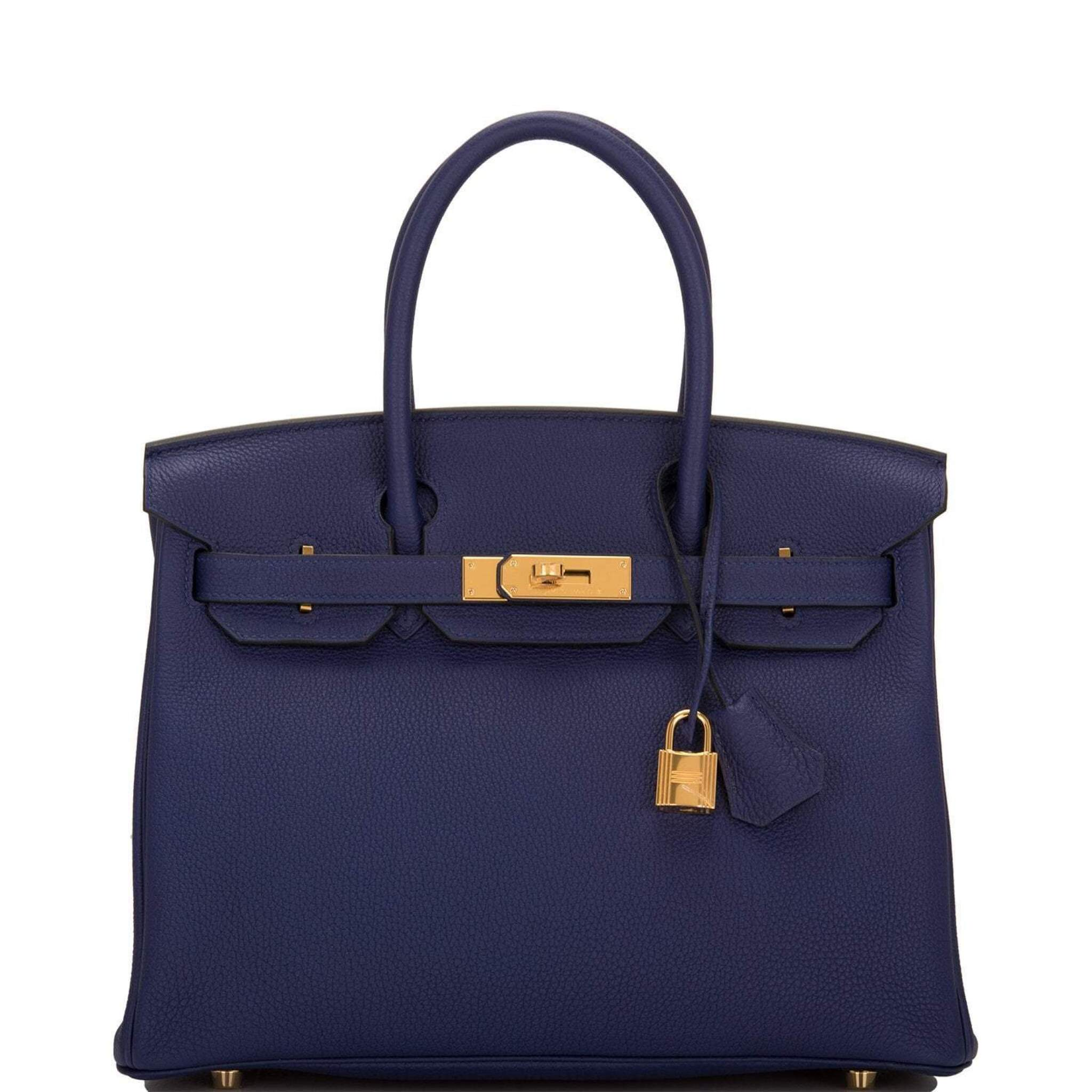 View full screen - View 1 of Lot 5. HERMÈS   BLUE ENCRE BIRKIN 30CM OF TOGO LEATHER WITH GOLD HARDWARE.