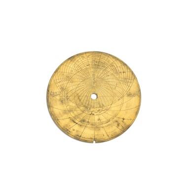View 12. Thumbnail of Lot 67. A fine Safavid gilt-brass astrolabe made for Imam Mirza Razi al-Din Muhammad Husayni al-Mawsawi (d.1701), signed by Muhammad Husayn ibn Muhammad Baqir al-Yazdi, decorated by Muhammad Mahdi al-Yazdi, Persia, circa 1660.