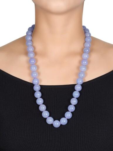 View 3. Thumbnail of Lot 1684. Lavender Jadeite Bead, Jadeite and Diamond Necklace | 天然紫色翡翠珠 配 天然翡翠 及 鑽石 項鏈.