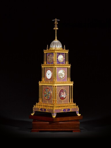 View 2. Thumbnail of Lot 16. John Mottram. A George III gilt-brass and enamel musical automaton clock for the Chinese market, London, circa 1790.