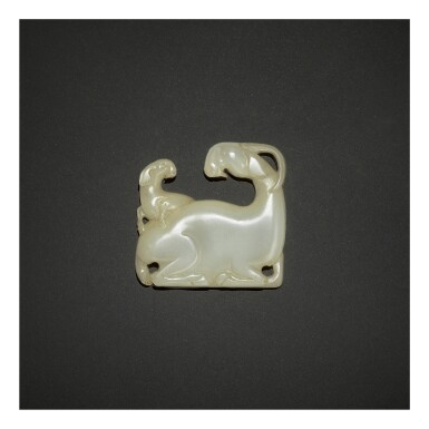 View 1. Thumbnail of Lot 253. AN EXCEPTIONALLY RARE WHITE JADE 'GOAT' PLAQUE,  SONG - YUAN DYNASTY.