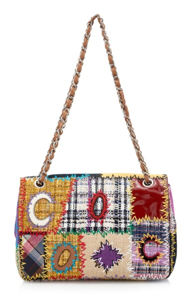 View 2. Thumbnail of Lot 164. MULTICOLOR PATCHWORK WITH SILVER-TONE METAL CLASSIC SHOULDER BAG, CHANEL.
