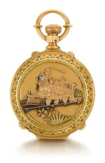 AMERICAN WATCH CO., WALTHAM  [ American Watch Co., 沃爾瑟姆]  | A VARI-COLOUR GOLD HUNTING CASED LEVER WATCH WITH LOCOMOTIVE SCENE AND BOX-HINGES    CIRCA 1886, MODEL 1872, NO. 1392908  [ 多色黃金懷錶飾火車頭場景,年份約1886,型號1872,編號1392908]