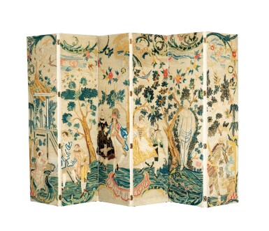 View 1. Thumbnail of Lot 45. A NEEDLEPOINT SIX-LEAVES FOLDING SCREEN, 18TH CENTURY [PARAVENT À SIX FEUILLES EN BRODERIE AU GROS POINT ET PETIT POINT, XVIIIE SIÈCLE].