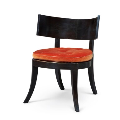 View 3. Thumbnail of Lot 112. A SET OF SIX KLISMOS TYPE CANED EBONY CHAIRS, MODERN.