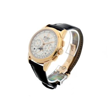 View 2. Thumbnail of Lot 32. REFERENCE 5270R RETAILED BY TIFFANY & CO.: A PINK GOLD PERPETUAL CALENDAR CHRONOGRAPH WRISTWATCH WITH MOON PHASES, LEAP YEAR AND DAY AND NIGHT INDICATION, CIRCA 2017.