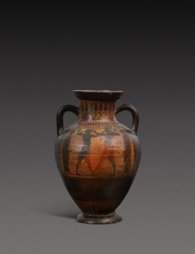 View 2. Thumbnail of Lot 57. An Attic Black-figured Amphora, attributed to the Princeton Group, circa 540-530 B.C..