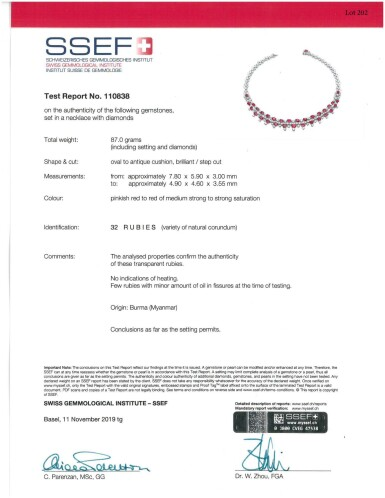View 3. Thumbnail of Lot 202. Harry Winston | Ruby and Diamond Necklace and Pair of Earclips.
