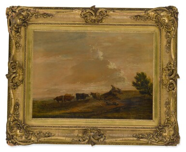 View 2. Thumbnail of Lot 632. FOLLOWER OF THOMAS GAINSBOROUGH, R.A. | AN OPEN LANDSCAPE WITH RESTING DROVERS.