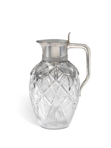 View 1. Thumbnail of Lot 280. A Fabergé silver-mounted cut-glass decanter, Moscow, 1908-1917.