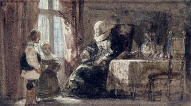 View 1. Thumbnail of Lot 41. The Remonstrance: An old woman admonishing two children.
