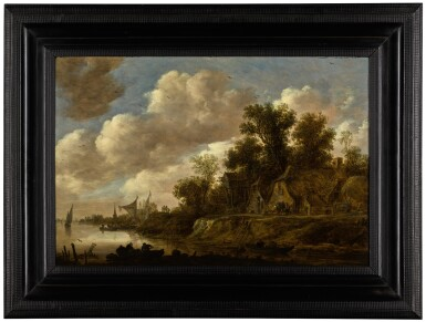 View 2. Thumbnail of Lot 22. River landscape with farmhouses and a dovecote upon a high bank  《河上風景,河畔農舍與鴿房景觀》.