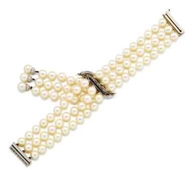 View 4. Thumbnail of Lot 9037. 'Flammes' Cultured Pearl and Diamond Bracelet   梵克雅寶   'Flammes' 養殖珍珠 配 鑽石 手鏈.