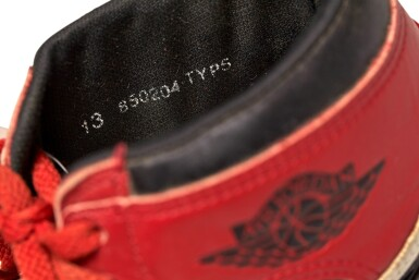 View 14. Thumbnail of Lot 1. Michael Jordan's Game Worn 1985 Player Sample Air Jordan 1s | Sizes 13, 13.5.