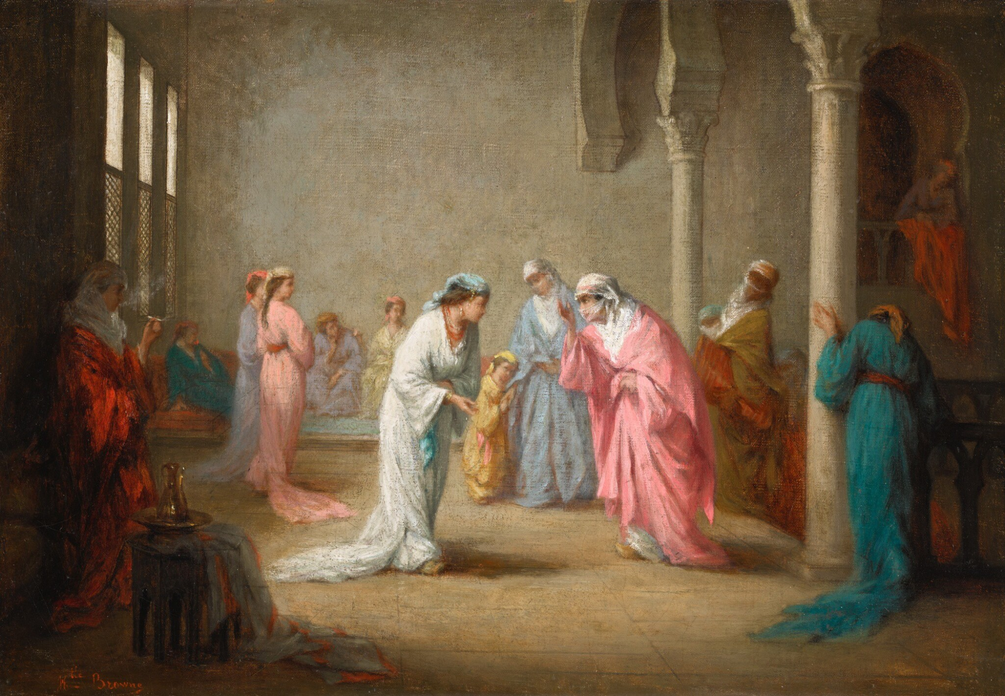 View full screen - View 1 of Lot 12. HENRIETTE BROWNE | A VISIT: A HAREM INTERIOR.