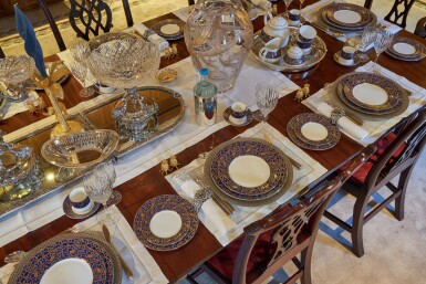 View 15. Thumbnail of Lot 44. An early 19th C Mahogany Dining Table by Gillow & Co. with a set of 12 carved Dining Chairs in the Chippendale Style, and a Thomas Goode 'Stewart' bone china part dinner and dessert service, and an original antique glass from the Thomas Goode archive, various dates.