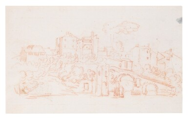 View 4. Thumbnail of Lot 129. Recto and Verso: A View Along the River Tiber.