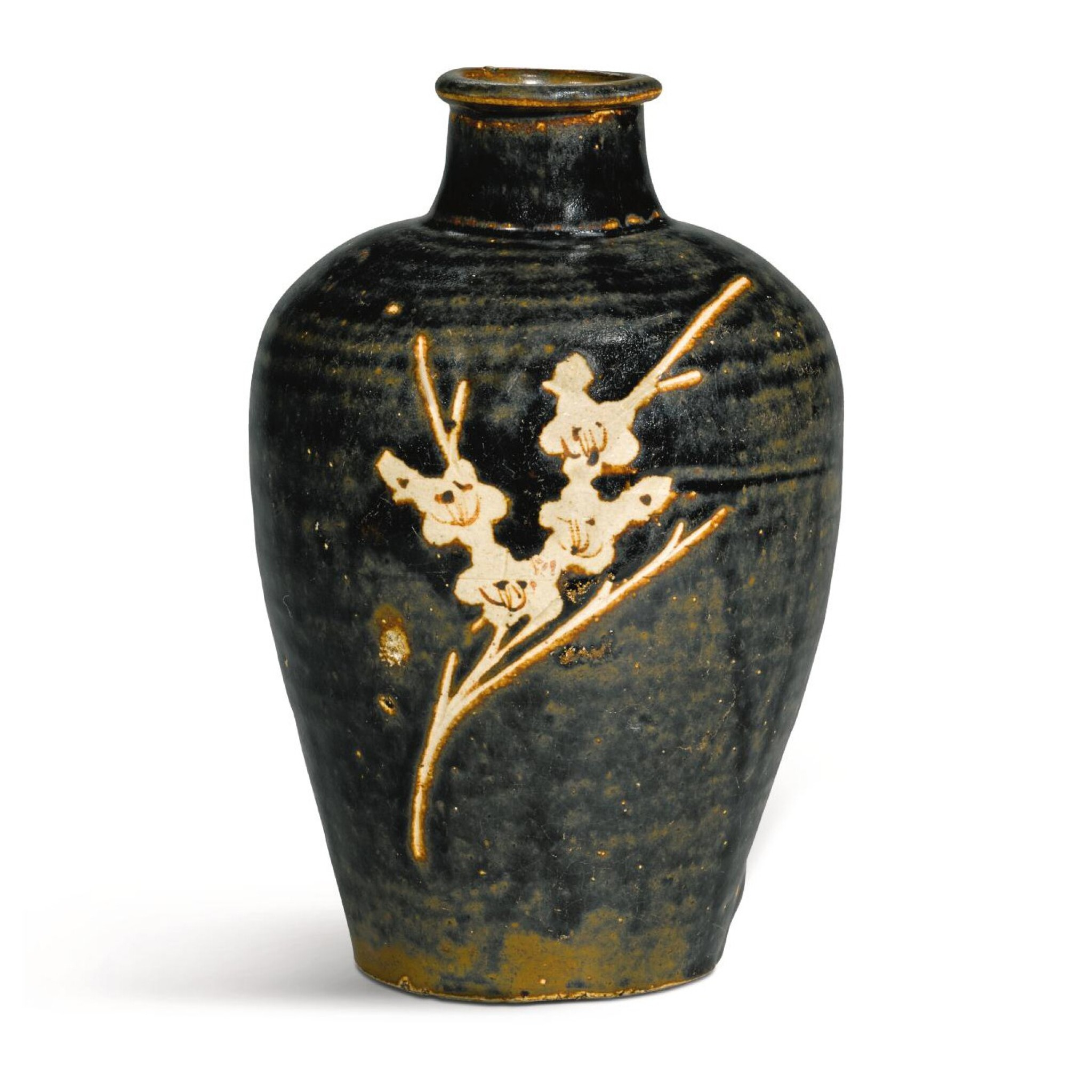 View full screen - View 1 of Lot 240. A JIZHOU RESIST-DECORATED 'PRUNUS' VASE, MEIPING, SOUTHERN SONG DYNASTY, 12TH/13TH CENTURY | 南宋 十二/十三世紀 吉州窰黑釉剔花折枝梅紋梅瓶.