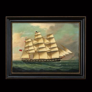View 1. Thumbnail of Lot 197. Chinese School, 19th Century Portrait of a Ship | 中國畫派 十九世紀   帆船 布本油畫 木框.