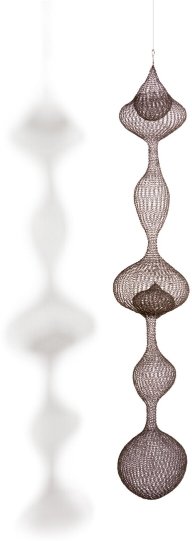 RUTH ASAWA   UNTITLED (S.853, HANGING FIVE-LOBED, THREE PART, DISCONTINUOUS SURFACE WITH ASYMMETRICAL AND SYMMETRICAL LOBES)