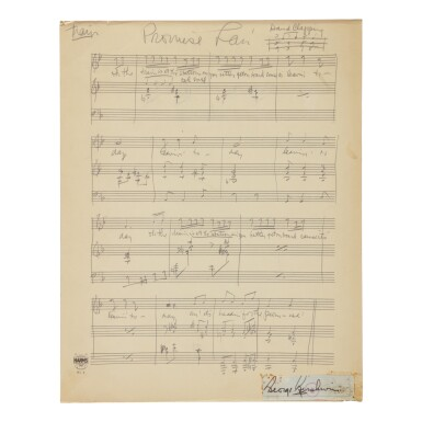 "View 1. Thumbnail of Lot 185. GERSHWIN, GEORGE | Autograph music manuscript of ""Leavin' for de Promise' Lan'"" from the opera Porgy and Bess, Act One Scene Two."