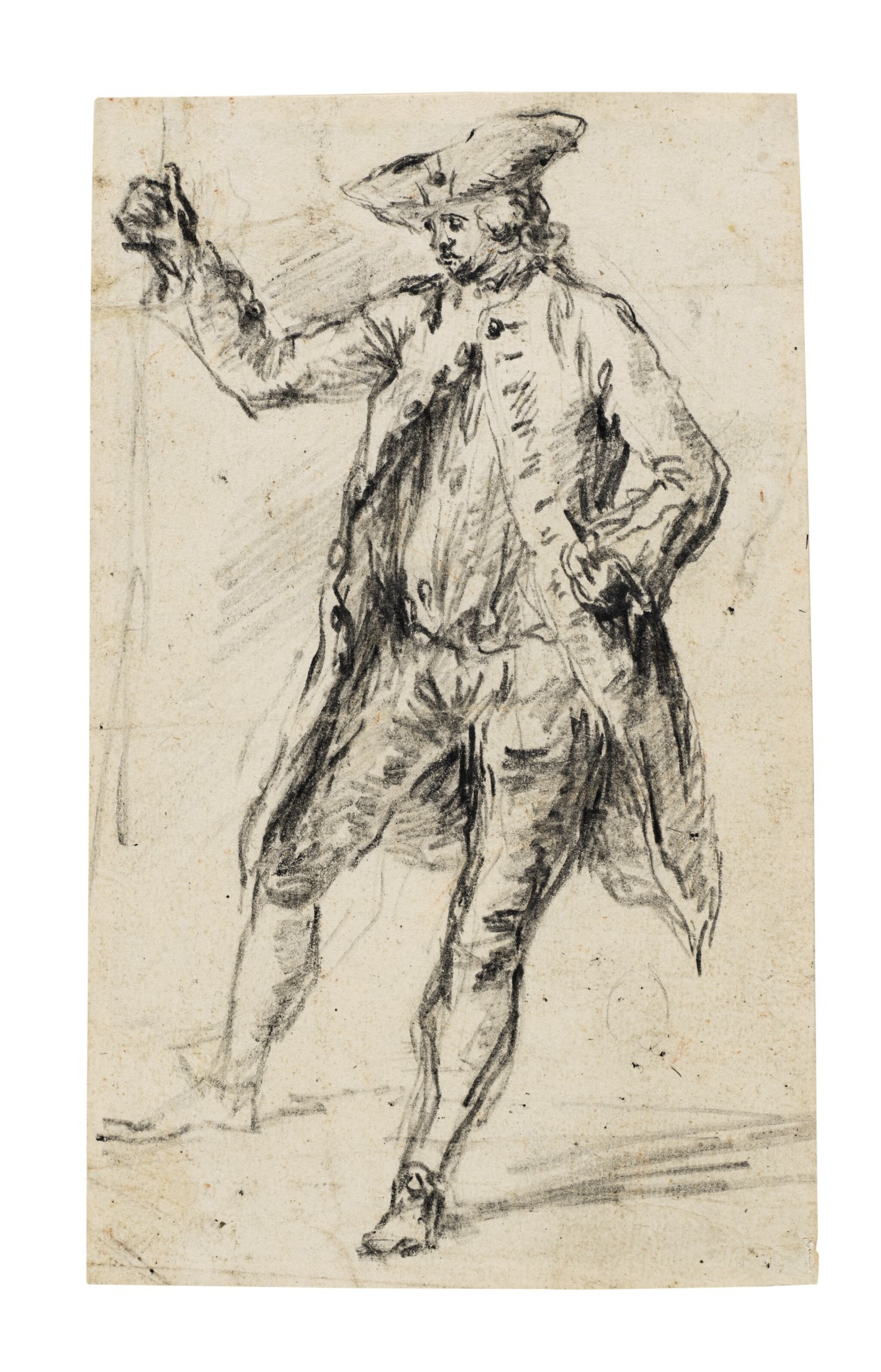 Standing Man with a Walking Stick Wearing a Tricorn Hat