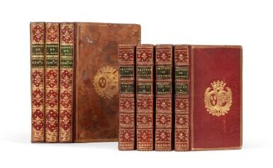 View 1. Thumbnail of Lot 92. Réunion de 2 ouvrages en 7 volumes reliés aux armes de la comtesse de Provence.