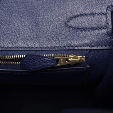 View 7. Thumbnail of Lot 5. HERMÈS   BLUE ENCRE BIRKIN 30CM OF TOGO LEATHER WITH GOLD HARDWARE.