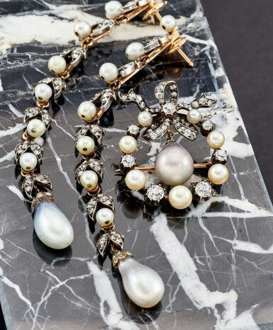 View 5. Thumbnail of Lot 9009. Natural Pearl and Diamond Brooch, 19th Century | 天然海水珍珠 配 鑽石 胸針, 19世紀.
