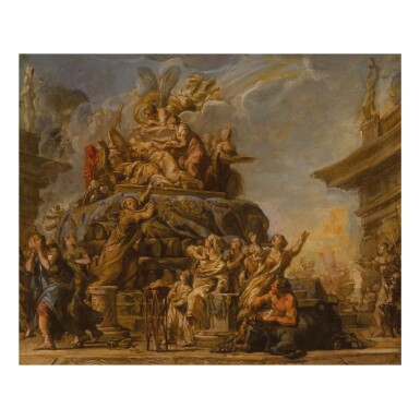 View 1. Thumbnail of Lot 118. JEAN-BERNARD RESTOUT | THE DEATH OF DIDO, A BOZZETTO.