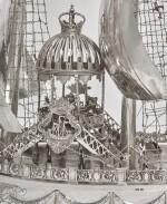 A MONUMENTAL GERMAN SILVER NEF, B. NERESHEIMER & SÖHNE, HANAU, WITH IMPORT MARKS FOR BERTHOLD HERMANN MULLER, LONDON, 1913