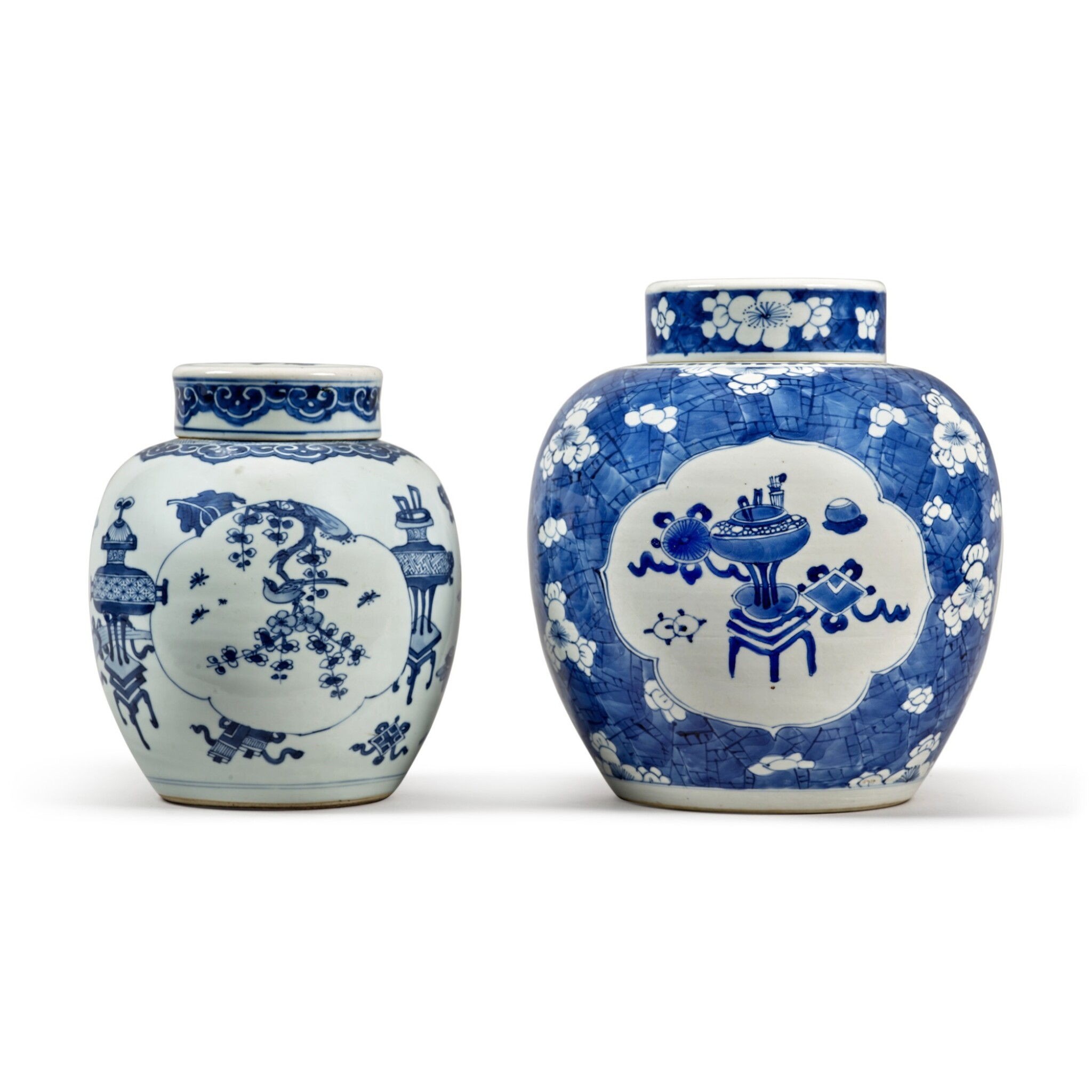 View full screen - View 1 of Lot 31. Two blue and white jars and covers, Qing dynasty.
