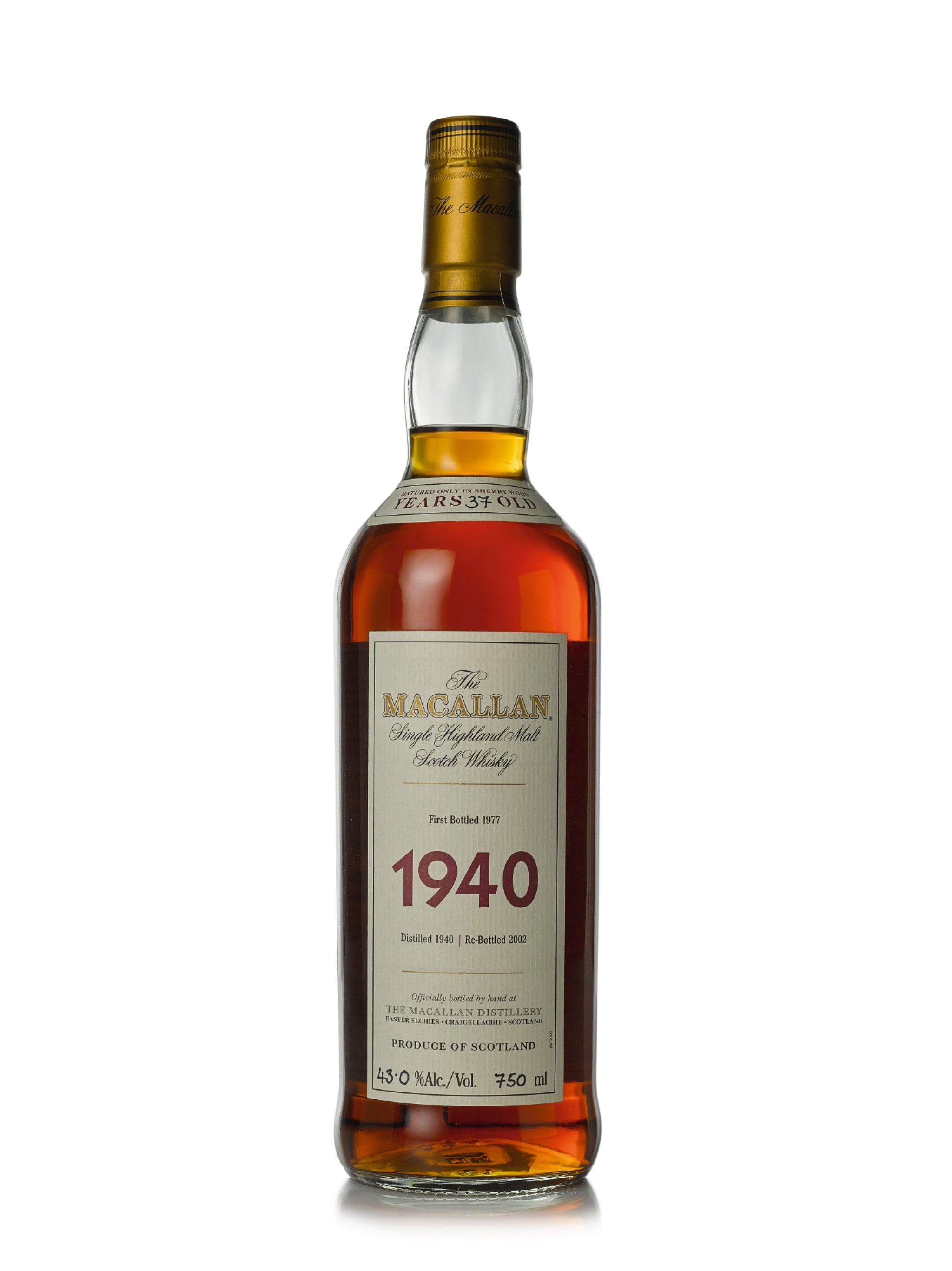 View full screen - View 1 of Lot 27. The Macallan Fine & Rare 37 Year Old 43.0 abv 1940 (1 BT75cl).