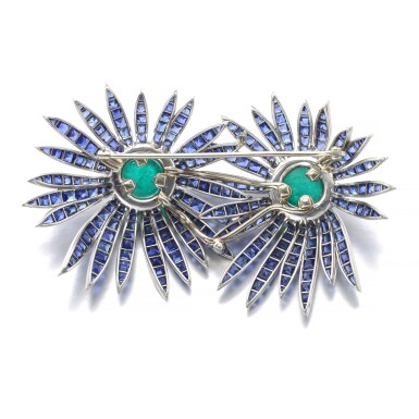 View 3. Thumbnail of Lot 301. VERDURA | EMERALD, SAPPHIRE AND DIAMOND BROOCH, 'DOUBLE ASTER', 1956.