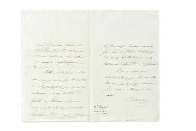 View 2. Thumbnail of Lot 177. La Chartreuse de Parme. 1839. 2 vol., percaline rouge. E.O. Ex des Goncourt. Lettre jointe de Stendhal.